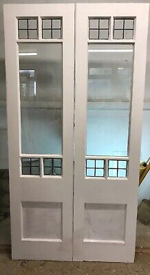 Victorian Leaded Glass French Doors Antique Period Old Reclaimed Lead Wood Pine