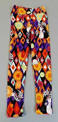 LuLaRoe Girl's Cruella De Vil Diamond Floral Leggings AB4 Multi-Color Size S/M