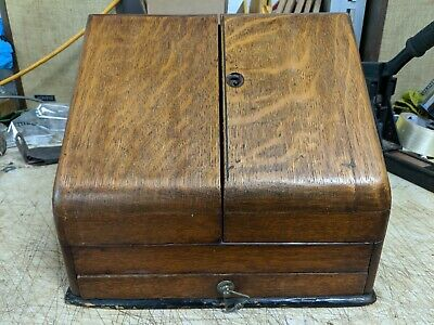Victorian Oak Stationary Box Antique Wooden Cabinet 19th century(?)