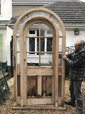 Large Victorian Front Door + Frame Reclaimed Old Antique Pine Rare Arched Wood.