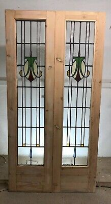 Art Deco Stained Glass Doors Antique Period Reclaimed Old French Wooden Lead P