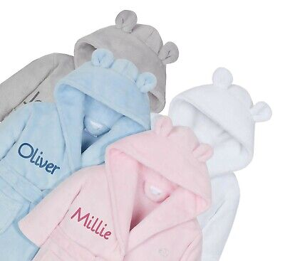 Embroidered Personalised Baby Bath Robe Dressing Gown Boy Girl Gift Soft + Ears