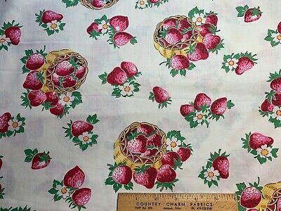 Vintage Cotton Fabric 40s50s CUTE Strawberries Baskets NOVELTY 35w 1yd