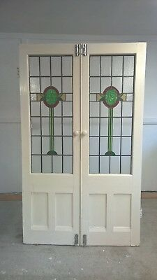 Edwardian Stained Glass French Doors Antique Period Old Reclaimed Lead Wood 2