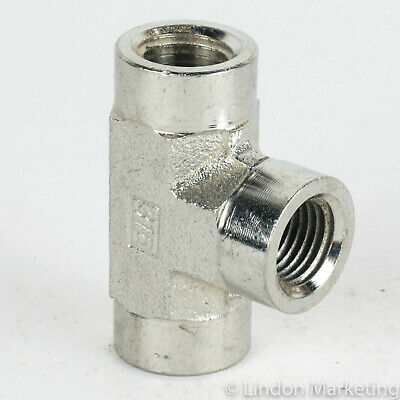 "1/4"" Tee pipe fitting, NPT, 316 stainless ss, lot of 10"