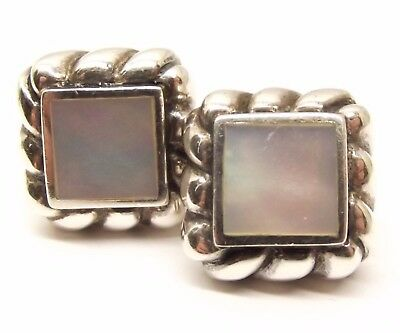 Vtg Sterling Silver Stud Mother of Pearl Earrings Ornate Puffy Square Ruffle MOP