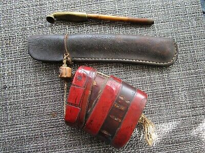 Japanese Smoking Pipe Kisera With Pouch And Tobacco Box  Rare And Collectable
