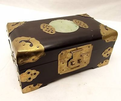 Vtg Chinese Wood Ornate Jewelry Trinket Box Lacquer Brass Carved Jade Lid Floral