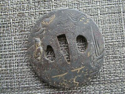 Japanese Sword Tsuba Made Of Iron With Traces Of Gilding Rare And Signed