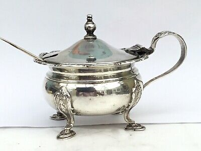 A Large Vintage Solid Silver Mustard Pot, 1938