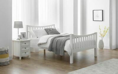Emily Modern White Solid Pine Wooden Bed Frame 4FT6 Double 5FT King Size