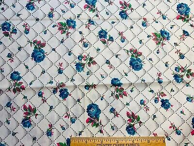 "Vintage Cotton Fabric 40s PRETTY Blue Roses Pink Rosebuds 35w 1+yd 42""L"