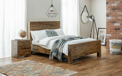 Melanie Solid Acacia Rustic Oak Wooden Bed Frame 4FT6 Double 5FT King Size