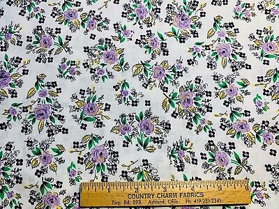 Vintage Cotton Fabric 30s40s Purple &  Yellow Flowers 35w 1yd