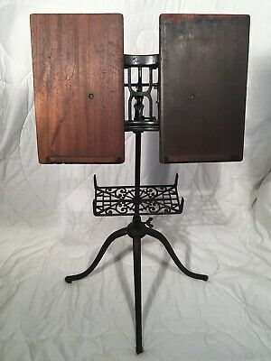 Antique Victorian Cast Iron & Oak Library Stand for Books Bible+ Dated Dec 1895