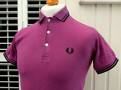 Fred Perry Made In Japan Purple Twin Tipped Polo Shirt - XS/S - Mod Ska Scooter