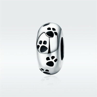 103cac32b New Authentic 925 SS 925 Sterling Silver Pet's Footprints Spacer Charm  SCC594