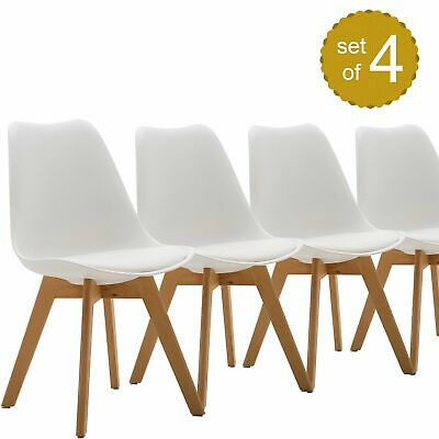 4X Mid Century Dining Kitchen Chairs Modern Armless Side Chair Wood Legs White