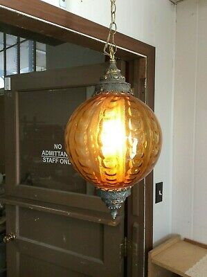 Vintage Swag Ceiling Light Lamp Hanging Amber Quilt Glass Globe w/Diffuser