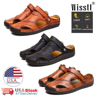 Men's Leather Sports Sandals Holiday Beach Shoes Fisherman Beach Summer Slippers
