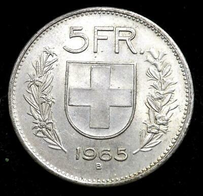 1965 Switzerland Silver 5 Francs Coin.