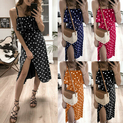 Women Sexy Strappy Vintage Off Shoulder Ruffles Lace up Dot Print Dress CA