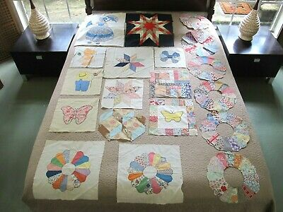 19 Vintage Hand Pieced Feed Sack & Old Cotton QUILT BLOCKS, Dresden Plate & More