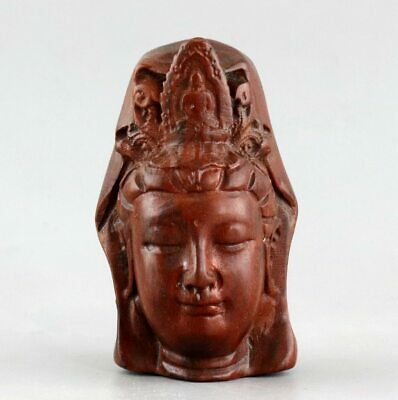 Collectable China Old Boxwood Carve Guanyin Bodhisattva Head Bring Luck Pendant