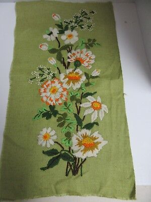 Finished Crewel Embroidery Floral Panel Completed Vintage Green Fabric Flower