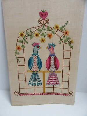 Finished Embroidery Jacobean Look Tropical Birds Birdcage Completed 12x18