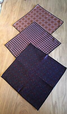 Three Vintage Gentlemans Handkerchiefs