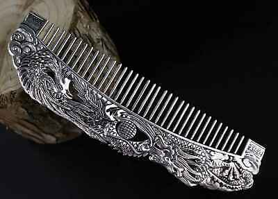 Collect Old Tibet Silver Hand Carve Myth Dragon & Phenix Moral Bring Lucky Comb