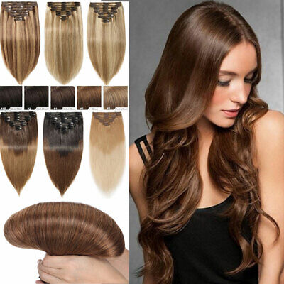 Extra THICK Double Weft Real Clip In Remy Human Hair Extension Full Head Brown H