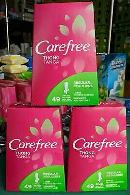 Lot 3 Carefree Thong Regular Pantyliners with Wings Unscented 49 Liners