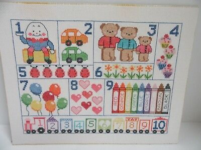 Finished Cross Stitch Alphabet Sampler Nursery Rhyme Humpty Dumpty Completed