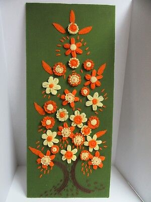 Finished Crewel Embroidery Yarn Flower Daisy Tree Completed 16x36 Retro Design