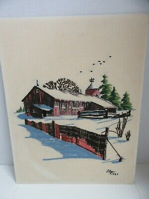 Finished Crewel Embroidery Country Barn Silo Completed Framed 17x21 Vintage