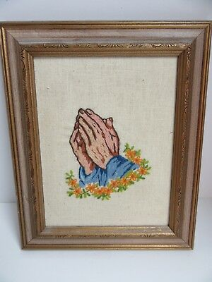 Finished Crewel Embroidery Praying Hands Prayer Religious Completed Framed