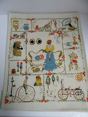 Finished Crewel Embroidery Nostalgia Completed 16x20 Old Fashion Spinnerin ST326