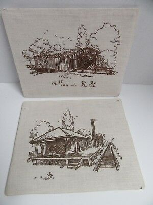2 Finished Embroidery Covered Bridge & Railroad Depot Vintage 1978 Paragon