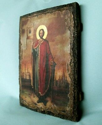 Handmade copy ancient ORTHODOX ICON of Alexander Nevsky Александр Невский 145S