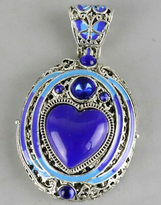 Collect China Culture Tibet Silver Cloisonne Hand Carve Delicate Noble Pendant