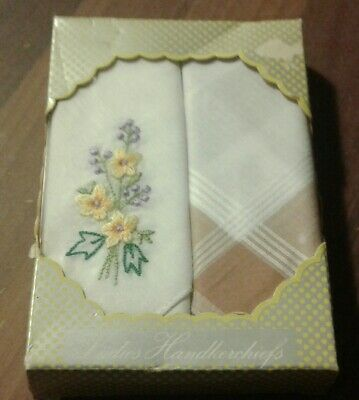 Boxed Set Of 2 Ladies Vintage Style Cotton Handkerchiefs -Floral Embroidery