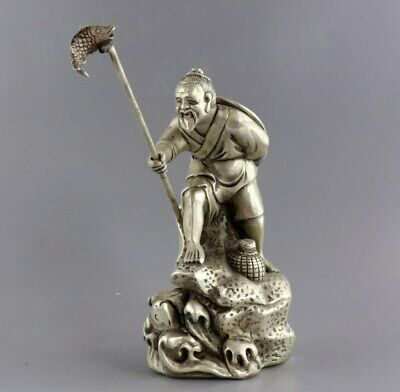 Collect Antique Tibet Silver Hand Carve Old Man Fishing Vivid Interesting Statue
