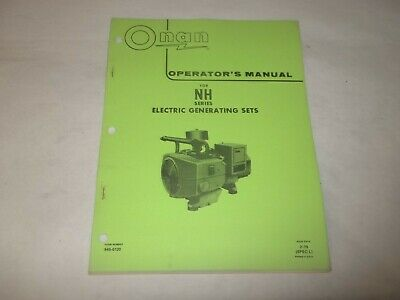 Onan NH electric generating plants operators manual