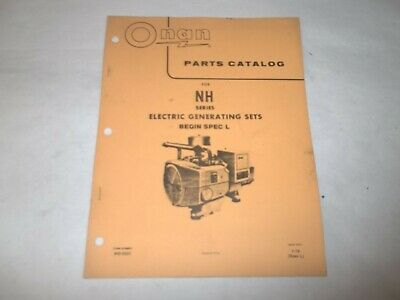 Onan NH electric generating plants parts catalog begin spec L