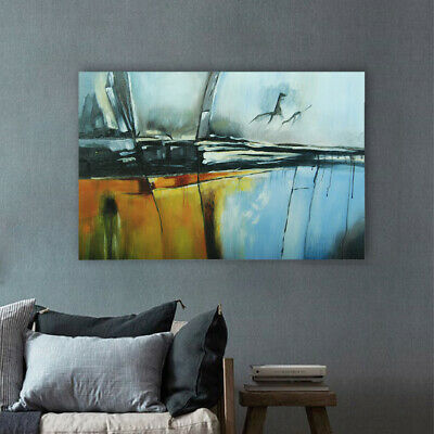 Modern Abstract Hand Painted Art Canvas Oil Painting Home Decor Framed - Metope