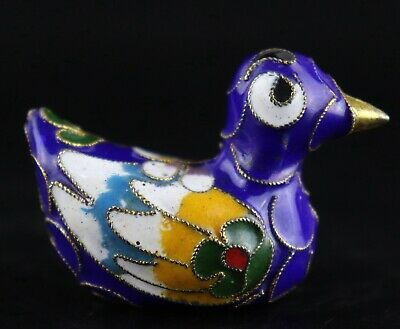 Collect Antique Cloisonne Hand Carve Lifelike Little Duck Delicate Lovely Statue
