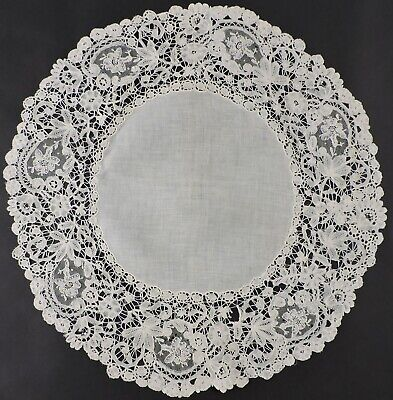 Antique Hand Made Brussels Mixed Lace Round Cloth