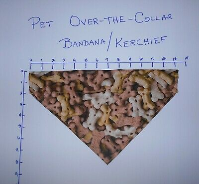 Pet/Dog Over-the-Collar bandana kerchief Dog Bones hand made